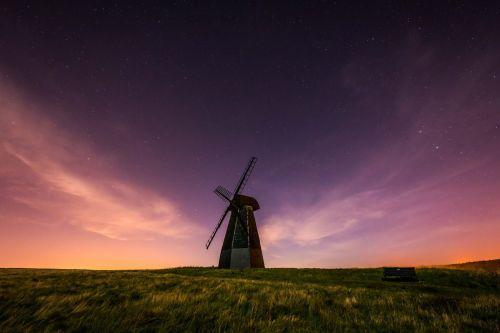 Dark Skies over a windmill
